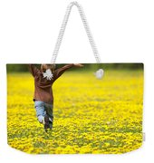 Young Boy Running Through Field Of Weekender Tote Bag