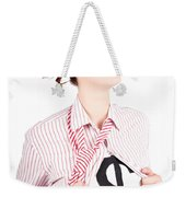 Young Businesswoman Super Hero Showing Dollar Sign Weekender Tote Bag
