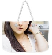 Young Pretty Business Travel Woman With Luggage Weekender Tote Bag