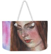 Young Woman Watercolor Portrait Painting Weekender Tote Bag