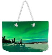 Intense Display Of Northern Lights Aurora Borealis Weekender Tote Bag