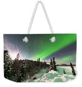 Intense Display Of Northern Lights Aurora Borealis Weekender Tote Bag
