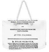 Noah Webster (1758-1843) Weekender Tote Bag