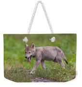 Timber Wolf Pup Weekender Tote Bag
