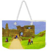 Tourists And The Path At Ruins Of The Urquhart Castle Weekender Tote Bag