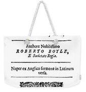 Robert Boyle (1627-1691) Weekender Tote Bag