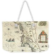 1635 Blaeu Map Of New England And New York Weekender Tote Bag by Paul Fearn