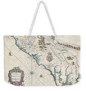 1676 John Speed Map Of Carolina Weekender Tote Bag by Paul Fearn