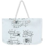 Guitar Pickup Patent Drawing On A Blue Background Weekender Tote Bag