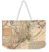1729 Moll Map Of New York New England And Pennsylvania  Weekender Tote Bag