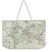 1784 Vaugondy Map Of The World On Mercator Projection Weekender Tote Bag
