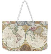 1794 Samuel Dunn Wall Map Of The World In Hemispheres Weekender Tote Bag by Paul Fearn