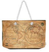 1833 School Girl Manuscript Wall Map Of The World On Hemisphere Projection  Weekender Tote Bag