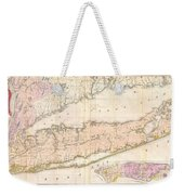 1842 Mather Map Of Long Island New York Weekender Tote Bag by Paul Fearn