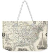1851 Tallis And Rapkin Map Of The United States Weekender Tote Bag