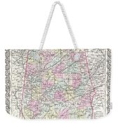 1855 Colton Map Of Alabama Weekender Tote Bag