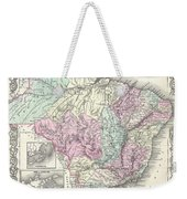 1855 Colton Map Of Brazil And Guyana Weekender Tote Bag