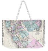 1855 Colton Map Of California And San Francisco Weekender Tote Bag
