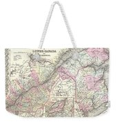 1855 Colton Map Of Canada East Or Quebec Weekender Tote Bag