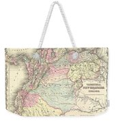 1855 Colton Map Of Columbia Venezuela And Ecuador Weekender Tote Bag
