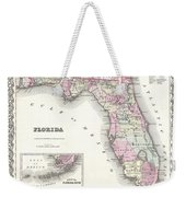 1855 Colton Map Of Florida Weekender Tote Bag