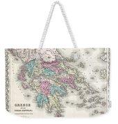 1855 Colton Map Of Greece  Weekender Tote Bag