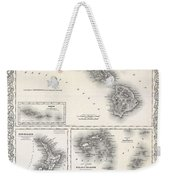 1855 Colton Map Of Hawaii And New Zealand Weekender Tote Bag