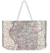 1855 Colton Map Of Illinois Weekender Tote Bag