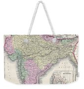 1855 Colton Map Of India Or Hindostan Weekender Tote Bag