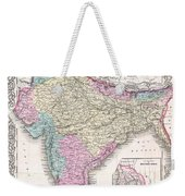 1855 Colton Map Of India Weekender Tote Bag