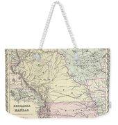 1855 Colton Map Of Kansas And Nebraska  Weekender Tote Bag