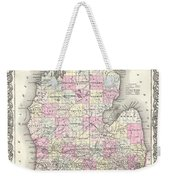 1855 Colton Map Of Michigan Weekender Tote Bag
