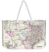1855 Colton Map Of Texas Weekender Tote Bag