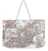 1856 Colton Pocket Map Of New England And New York Weekender Tote Bag