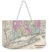 1857 Colton Map Of Connecticut And Long Island Weekender Tote Bag