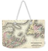 1857 Colton Map Of New Brunswick And Newfoundland Canada Weekender Tote Bag