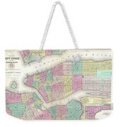 1857 Colton Map Of New York City Weekender Tote Bag