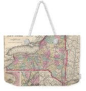 1857 Colton Map Of New York Weekender Tote Bag