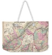1857 Colton Map Of Quebec And New Brunswick Canada Weekender Tote Bag