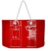 1876 Beer Keg Cooler Patent Artwork Red Weekender Tote Bag