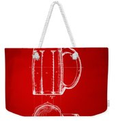 1876 Beer Mug Patent Artwork - Red Weekender Tote Bag