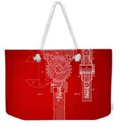 1878 Adjustable Wrench Patent Artwork - Red Weekender Tote Bag