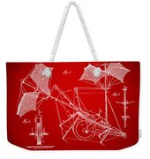 1879 Quinby Aerial Ship Patent Minimal - Red Weekender Tote Bag by Nikki Marie Smith