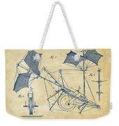 1879 Quinby Aerial Ship Patent Minimal - Vintage Weekender Tote Bag