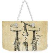 1883 Wine Corckscrew Patent Art - Vintage Black Weekender Tote Bag