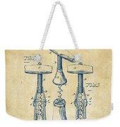 1883 Wine Corckscrew Patent Artwork - Vintage Weekender Tote Bag