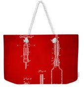1884 Corkscrew Patent Artwork - Red Weekender Tote Bag