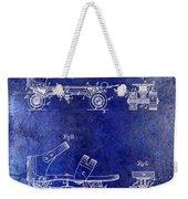 1885 Roller Skate Patent Drawing Blue Weekender Tote Bag