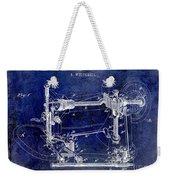 1885 Sewing Machine Patent Drawing Blue Weekender Tote Bag