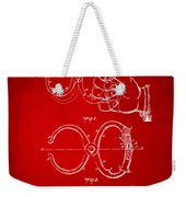 1891 Police Nippers Handcuffs Patent Artwork - Red Weekender Tote Bag